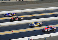 Apr. 13, 2012; Concord, NC, USA: NHRA pro stock drivers (right to left)) Shane Gray , Rodger Brogdon , Erica Enders and Kurt Johnson race four-wide during qualifying for the Four Wide Nationals at zMax Dragway. Mandatory Credit: Mark J. Rebilas-