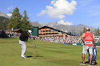 Hideto Tanihara (JPN) plays his 3rd shot on the 18th hole during Saturday's Round 3 of the 2018 Omega European Masters, held at the Golf Club Crans-Sur-Sierre, Crans Montana, Switzerland. 8th September 2018.<br /> Picture: Eoin Clarke | Golffile<br /> <br /> <br /> All photos usage must carry mandatory copyright credit (&copy; Golffile | Eoin Clarke)