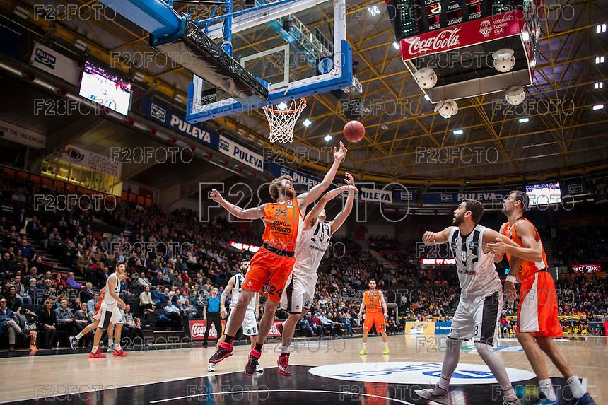 VALENCIA, SPAIN - JANUARY 6: John Shurna during EUROCUP match between Valencia Basket and PAOK Thessaloniki at Fonteta Stadium on January 6, 2015 in Valencia, Spain