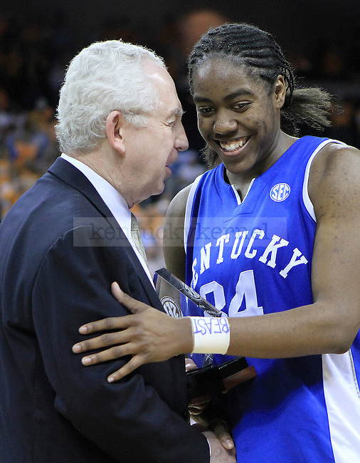 Junior guard Victoria Dunlap is named the to the all-tournament team after the UK women's basketball game against Tennessee for the SEC tournament at the Gwinnett Center on Sunday, March 7, 2010. UK lost to Tennessee  70-62. Photo by Adam Wolffbrandt | Staff
