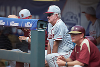 Florida State Seminoles head coach Mike Martin looks on from the dugout against the Louisville Cardinals in Game Eleven of the 2017 ACC Baseball Championship at Louisville Slugger Field on May 26, 2017 in Louisville, Kentucky. The Seminoles defeated the Cardinals 6-2. (Brian Westerholt/Four Seam Images)