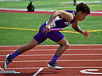 Collinsville&rsquo;s True Barbour, a junior, takes off to start the 4 X 100 race at the Norm Armstrong Boys Track and Field Invitational on Wednesday April 11, 2018. <br />Photo by Tim Vizer