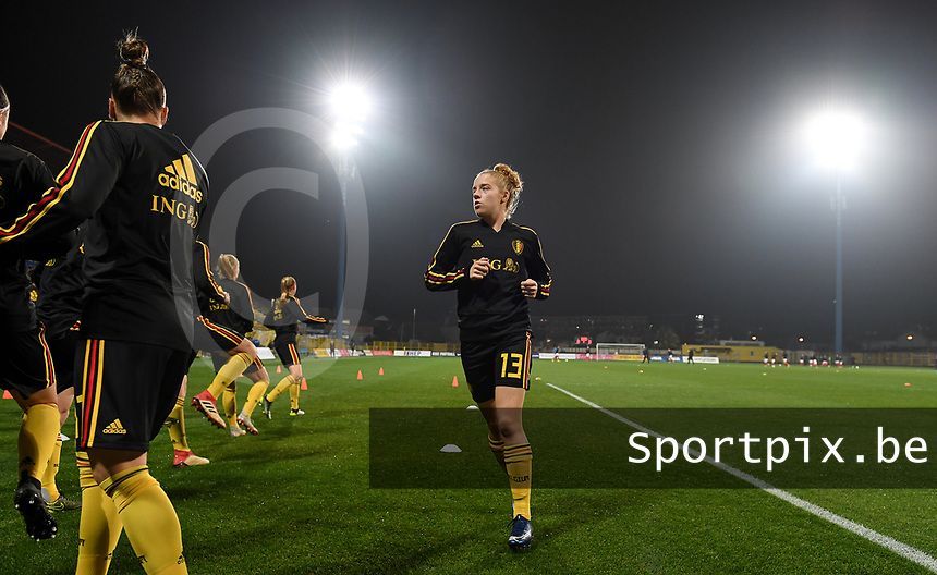20191108 - Zapresic , BELGIUM : Belgian Elena Dhont pictured during warming up of the female soccer game between the womensoccer teams of  Croatia and the Belgian Red Flames , the third women football game for Belgium in the qualification for the European Championship round in group H for England 2021, friday 8 th october 2019 at the NK Inter Zapresic stadium near Zagreb , Croatia .  PHOTO SPORTPIX.BE | DAVID CATRY