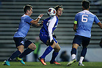20 November 2016: FGCU's Preston Kilwien (center) is defended by North Carolina's Alex Comsia (CAN) (4) and Colton Storm (6). The University of North Carolina Tar Heels hosted the Florida Gulf Coast University Eagles at Fetzer Field in Chapel Hill, North Carolina in a 2016 NCAA Division I Men's Soccer Tournament Second Round match. UNC defeated FGCU 3-2 in two overtimes.