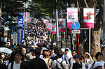 September 9, 2017, Tokyo, Japan - Shoppers are crowded at the Omotesando street for the Vogue Fashion's Night Out 2017 in Tokyo on Saturday, September 9, 2017. Some 630 shops participated one-night fashion shopping event in Tokyo. (Photo by Yoshio Tsunoda/AFLO) LWX -ytd-
