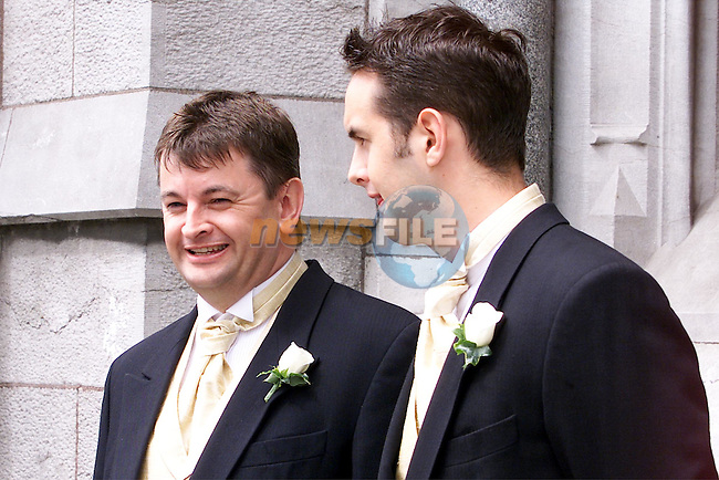 Alison Conyn's brothers Micheal and Patrick Conyn pictured at St Peters church in Drogheda where she married Malachy Murphy on Saturday..pic: Arthur Carron /Newsfile