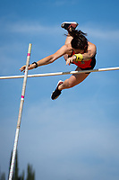 Melissa Braun '19 2nd place pole vault<br /> The Occidental College men's and women's track and field teams compete in the 2019 Southern California Intercollegiate Athletic Conference (SCIAC) Track and Field Championships at the Claremont-Mudd-Scripps Burns Track Complex in Claremont, Calif. on Saturday, April 27, 2019.<br /> After the two-day SCIAC Championships CMS scored 211.50 points, followed by Pomona-Pitzer (171.50), Redlands (114), Occidental (92.50), Whittier (57.50), La Verne (54), Cal Lutheran (48), Chapman (23) and Caltech (4). <br /> <br /> (Photo by Eddie Ruvalcaba, Image of Sport)