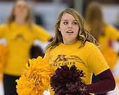 Junior Kristina Hefty led the Minnesota Hockey cheer squad in warmups. The University of Minnesota Golden Gophers defeated the Michigan State University Spartans 5-4 on Friday, November 24, 2006 at Mariucci Arena in Minneapolis, Minnesota, as part of the College Hockey Showcase.
