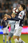 Stefan Medina of C.F Monterrey settles the ball during the CONCACAF Champions League semifinal soccer game on April 11, 2019 at Children's Mercy Park in Kansas City, Kansas.  Photo by TIM VIZER/AFP