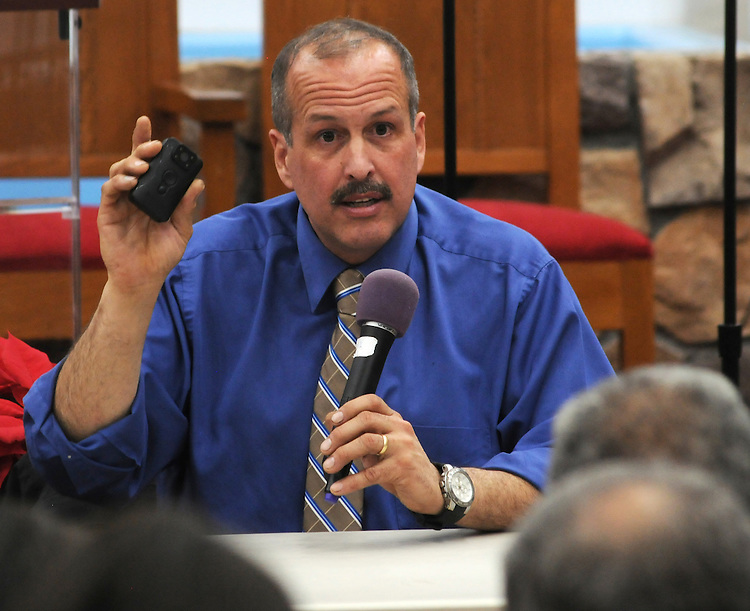 Kingston Police Chief, Egidio F. Tinti, answering a question, at a Community Policing Forum, sponsored by the Kingston Branch of ENJAN and the Ministers Alliance of Ulster Co., held at New Progressive Baptist Church, on Hone Street in Kingston, NY, on Tuesday, December 13, 2016. Photo by Jim Peppler; Copyright Jim Peppler 2016.