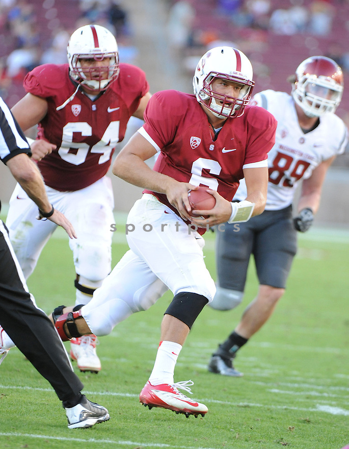 Stanford Cardinal Josh Nunes (6) in action during a game against Washington State on October 27, 2012 at Stanford Stadium in Stanford, CA. Stanford beat Washington State 24-17.