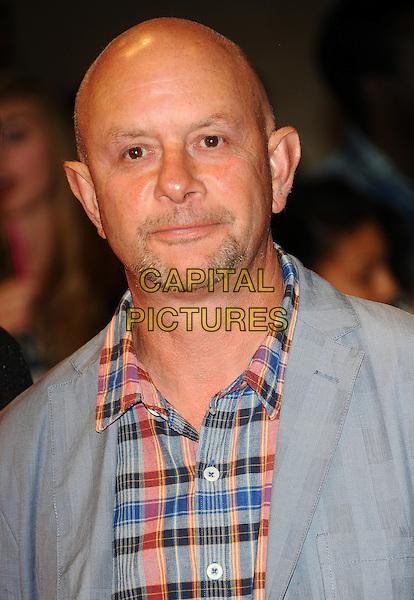 "Nick Hornby.""One Day"" UK premiere, Vue Westfield cinema, Westfield Shopping Centre, London, England..August 23rd, 2011.headshot portrait plaid check blue pink grey gray goatee facial hair.CAP/CJ.©Chris Joseph/Capital Pictures."