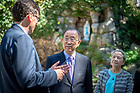 September 12, 2018; Ban Ki-moon, former secretary-general of the United Nations, center, speaks with Michel Hockx, director of the Liu Institute for Asia and Asian Studies, left, during a visit to the Grotto. Also pictured is Madam Soon-taek Yoo. (Photo by Matt Cashore/University of Notre Dame)