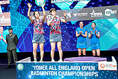 18th March 2018, Arena Birmingham, Birmingham, England; Yonex All England Open Badminton Championships; Yuki Fukushima (JPN) and Sayaka Hirota (JPN) thanks their fans after the lose in the womens doubles  final against Kamilla Rytter Juhl (DEN) and Christinna Pedersen (DEN)