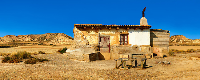 Shack in the Bardena Blanca area of the Bardenas Riales Natural Park, Navarre, Spain