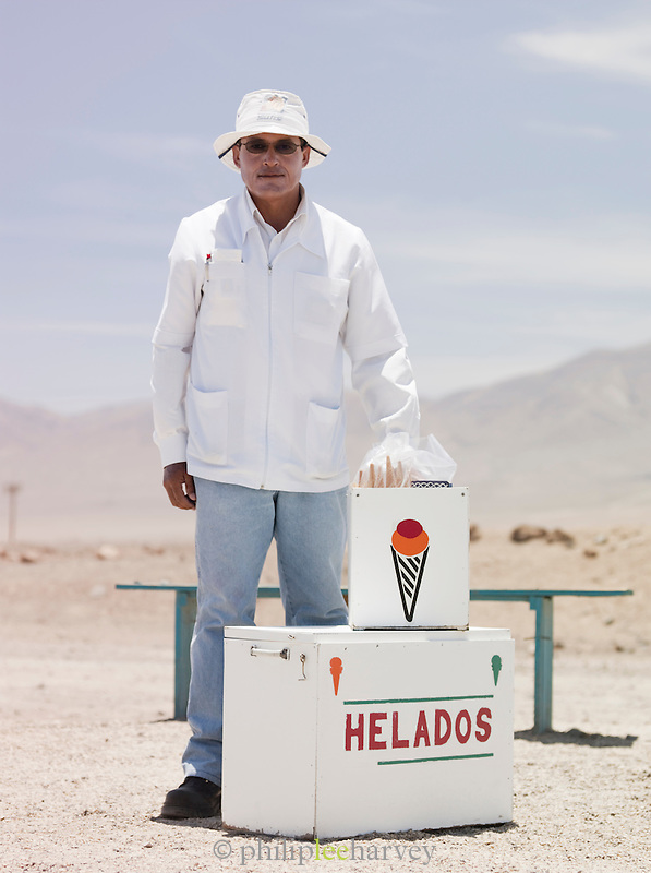 Man selling ice creams in the Atacama Desert, Chile