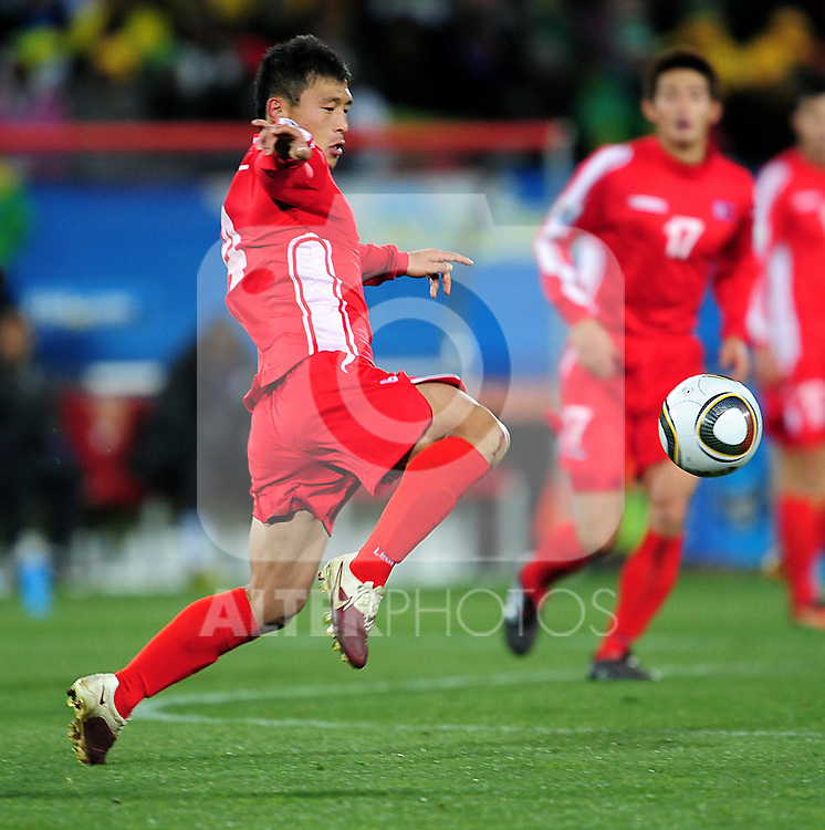 4 PAK Nam Chol  in action during the 2010 FIFA World Cup South Africa Group G match between Brazil and North Korea at Ellis Park Stadium on June 15, 2010 in Johannesburg, South Africa.