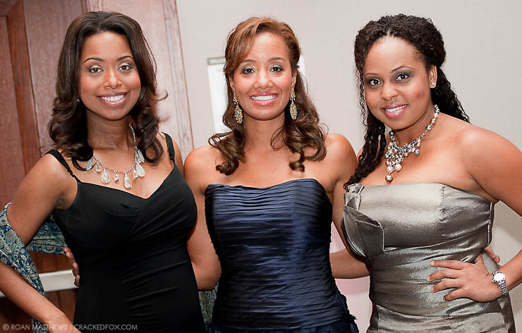 Chair Arvia Few poses with MIstress of Ceremonies Melinda Spaulding and Red Carpet Host Ayana Mack at the Houston Area Women's Center 2011 Gala.