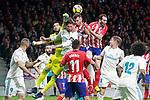 Atletico de Madrid's Saul Niguez (c-r) and Diego Godin (r) and Real Madrid CF's Kiko Casilla (l) and Sergio Ramos during La Liga match. November 18,2017. (ALTERPHOTOS/Acero)