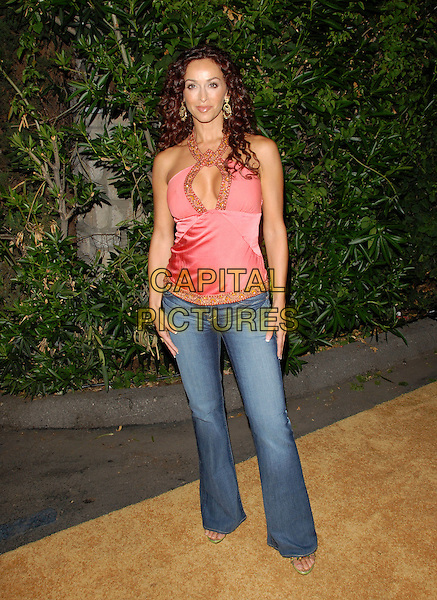 "SOFIA MILOS.Mark Burnett & AOL's Launch of ""Gold Rush"" interactive reality competition held at Les Deux in Hollywood, California, USA..September 12th, 2006.Ref: DVS.full length beaded halterneck pink satin top jeans denim.www.capitalpictures.com.sales@capitalpictures.com.©Debbie VanStory/Capital Pictures"