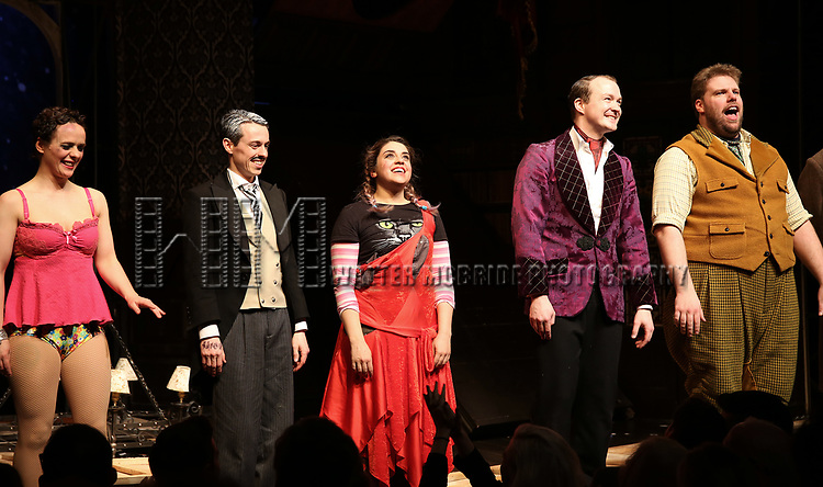 Charlie Russell, Jonathan Sayer, Nancy Zamit, Greg Tannahill, Henry Lewis from the cast of 'The Play That Goes Wrong' during the Broadway Opening Night curtain call bows at the Lyceum Theatre on April 2, 2017 in New York City.