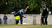 Scottish Saltires V Surry Lions - CB40 Cricket - Citylets Grange ground in Edinburgh - Saltires most effective bowler Majid Haq (2 for 32 off 8) bowls past Lions most effective batsman Matthew Spriegel who made 82 (from 73 balls and included two overs with Yair Arafat that produced 41 runs) - Picture by Donald MacLeod - 15.05.11 - 07702 319 738 - www.donald-macleod.com - clanmacleod@btinternet.com