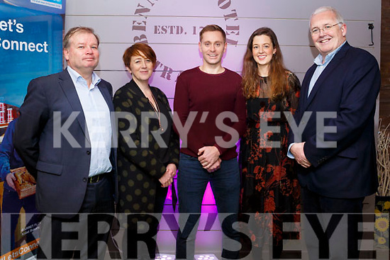 Gerry Enright (Bank of Ireland), Breda O'Dwyer (IT Tralee), Joey O'Connor (Guest Speaker), Laura Mallett (Bank of Ireland) and Frank Shaw (Bank of Ireland attending the Founder Friday inititive by Bank of Ireland and IT Tralee in Benners Hotel on Friday evening last.