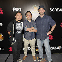 HOLLYWOOD,CA - OCTOBER 18: Burlee Vang, Abel Vang and Brad Brizendine attend the TRASH FIRE / Screamfest red carpet at TCL Chinese Theater in Hollywood, California on October 18, 2016. Credit: Koi Sojer/Snap'N U Photos /MediaPunch