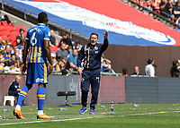 27th May 2018, Wembley Stadium, London, England;  EFL League 1 football, playoff final, Rotherham United versus Shrewsbury Town;  Shrewsbury Town manager Paul Hurst shouting instructions to Omar Beckles of Shrewsbury Town