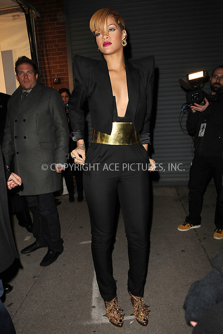 WWW.ACEPIXS.COM . . . . . ....December 8 2009, New York City....Singer Rihanna arriving at the launch of VEVO, a new music and video website, at Skylight Studio on December 8, 2009 in New York City.....Please byline: KRISTIN CALLAHAN - ACEPIXS.COM.. . . . . . ..Ace Pictures, Inc:  ..tel: (212) 243 8787 or (646) 769 0430..e-mail: info@acepixs.com..web: http://www.acepixs.com