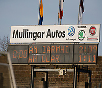 26th January 2020; TEG Cusack Park, Mullingar, Westmeath, Ireland; Allianz Football Division 2 Gaelic Football, Westmeath versus Clare; The scoreboard in TEG Cusack Park shows a 1 point win for Westmeath at full time