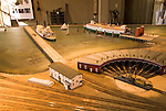 Railroad museum in Donahue Depot, city of Tiburon on San Francisco Bay, CA, California.  Appealing community on Marin side with breakfast places, sailboats, outdoor dining, houses with scenic views, views of the Golden Gate, cormorant birdlife, public sculptures, a railroad museum, boutique art shops, and an historic China Cabin building from an ex-ship..Photo camari269-70592..Photo copyright Lee Foster, www.fostertravel.com, 510-549-2202, lee@fostertravel.com.