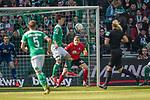 13.04.2019, Weser Stadion, Bremen, GER, 1.FBL, Werder Bremen vs SC Freiburg, <br /> <br /> DFL REGULATIONS PROHIBIT ANY USE OF PHOTOGRAPHS AS IMAGE SEQUENCES AND/OR QUASI-VIDEO.<br /> <br />  im Bild<br /> <br /> Yuya Osako (Werder Bremen #08)<br /> Christian G&uuml;nter / Guenter (SC Freiburg #30)<br /> <br /> Foto &copy; nordphoto / Kokenge