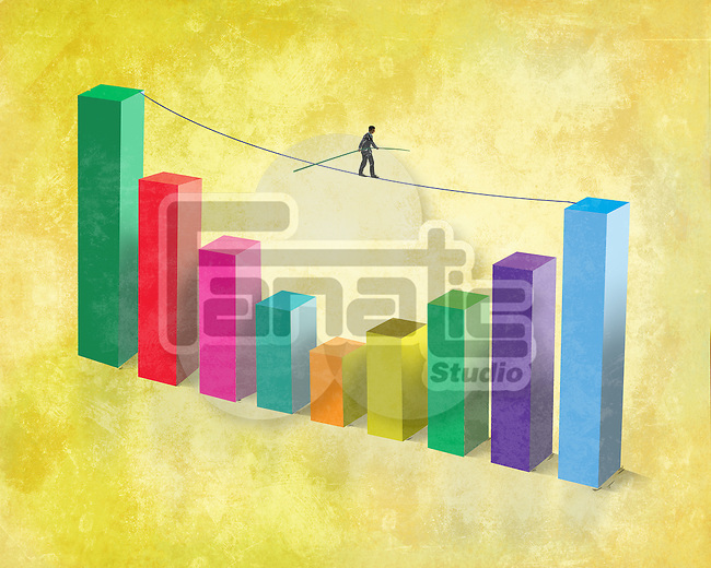 Illustrative image of businessman walking on rope attached to bar graph representing business ups and downs
