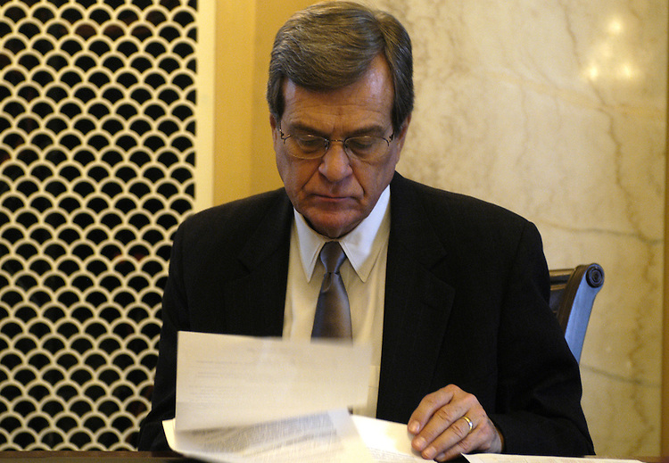 Sen. Trent Lott, R-Ms., at a press briefing on his and Sen. Cornyn's legislation on presidential succession.