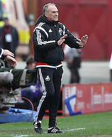 Swansea City Manager, Francesco Guidolin calls for calm during the Barclays Premier League match between Stoke City and Swansea City played at Britannia Stadium, Stoke on April 2nd 2016