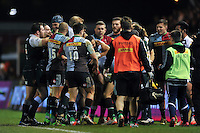 Tempers flare between the two sides during a break in play. Aviva Premiership match, between Harlequins and Leicester Tigers on February 19, 2016 at the Twickenham Stoop in London, England. Photo by: Patrick Khachfe / JMP