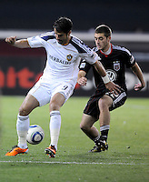 Los Angeles Galaxy forward Juan Pablo Angel (9) shields the ball against DC United defender Chris Korb (22).    DC United tied  Los Angeles Galaxy 1-1, at RFK Stadium, Saturday April 9, 2011.