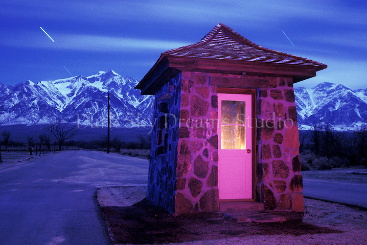 Guard house at the entrance to the Manzanar relocation camp - Manzanar National Monument , near Lone Pine, California