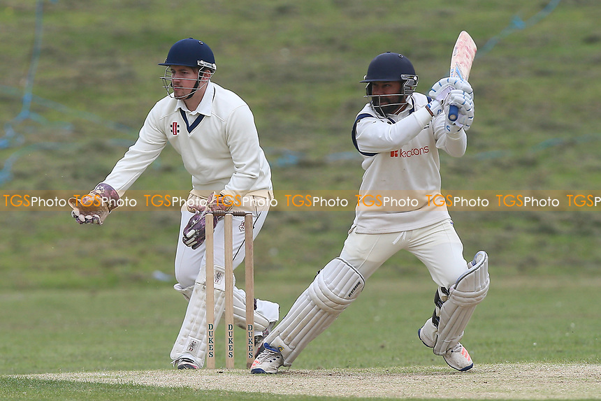 Arfan Akram in batting action for Wanstead during Ardleigh Green CC vs Wanstead and Snaresbrook CC, Shepherd Neame Essex League Cricket at Central Park on 29th April 2017