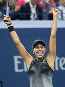 7th September 2017, Flushing Meadows, New York, USA;   Madison Keys (USA) celebrates her women's singles semi-final win of the US Open on September 07, 2017 at the Billie Jean King National Tennis Center in Flushing Meadow, NY.