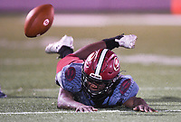 NWA Democrat-Gazette/CHARLIE KAIJO Springdale High School running back Darrell Parchman (2) misses a pass during a football game, Friday, October 4, 2019 at Springdale High School in Springdale.
