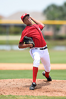 GCL Nationals pitcher Cole Plouck (43) delivers a pitch during a game against the GCL Marlins on June 28, 2014 at the Carl Barger Training Complex in Viera, Florida.  GCL Nationals defeated the GCL Marlins 5-0.  (Mike Janes/Four Seam Images)