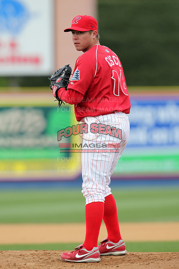 Reading Phillies pitcher Michael Cisco #16 during practice before a game against the New Hampshire Fisher Cats at FirstEnergy Stadium on April 10, 2012 in Reading, Pennsylvania.  New Hampshire defeated Reading 3-2.  (Mike Janes/Four Seam Images)