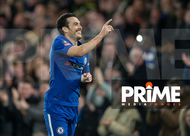 Pedro of Chelsea  celebrates scoring during the FA Cup 5th round match between Chelsea and Hull City at Stamford Bridge, London, England on 16 February 2018. Photo by Vince  Mignott / PRiME Media Images.