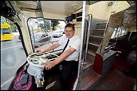 BNPS.co.uk (01202 558833)<br /> Pic:   RogerArbon/BNPS <br /> <br /> Bus driver Nick Jackson at the wheel of the historic vehicle.<br /> <br /> A small group of volunteers have reintroduced a historic seaside bus service after spending five years restoring the original bus that travelled the route 50 years ago.<br /> <br /> The classic yellow open top 1965 Daimler Fleetline double decker is back running the old 'Route 12'  service between Bournemouth and Hengistbury Head.<br /> <br /> The volunteers drive and conduct the bus, as well as maintaining it and producing the timetables and bus stop flags.<br /> <br /> The vintage Bournemouth Corporation Transport bus ran along the idyllic five mile stretch of Dorset coastline from 1965 to 1977.<br /> <br /> But it had fallen into a 'sorry state' and was languishing in a depot when it was purchased by the volunteers from a bus operator in Purfleet, Essex, for £2,000 in 2014.