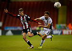 David Brooks of Sheffield Utd held back by Luke Leahy of Walsall during the Carabao Cup First Round match at Bramall Lane Stadium, Sheffield. Picture date: August 9th 2017. Pic credit should read: Simon Bellis/Sportimage
