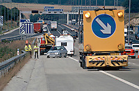 Remains of a car and caravan involved in a road traffic accident on the motorway..©shoutpictures.com..john@shoutpictures.com