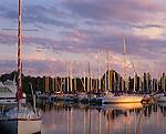 Madeline Island, WI<br /> Madeline Island Yacht Club under sunset colored sky, Apostle Islands, Lake Superior