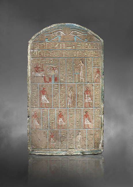 Ancient Egyptian stele of commander in chief Senebetysy, sandstone, Middle Kingdom, 13th Dynasty, (11759-1700 BC), Deir el-Medina, Old Fund cat 1629. Egyptian Museum, Turin. Grey background<br /> <br /> Stet for the commander in chief of the city regiment of Sarenenutrt, son of Sainyt and his wife Senebtysy.